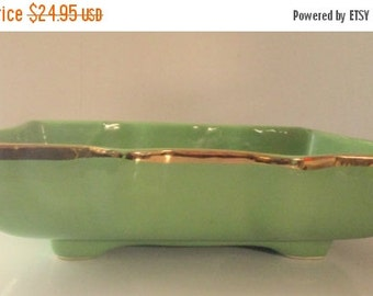Half Off Sale Vintage USA Pottery  Rare Spring Green Rectangular Bowl or Planter with Gilded Edges