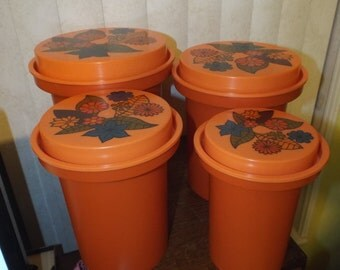 Mid Century Orange Canister Set by Rubbermaid oh so Kitschy Kitchen