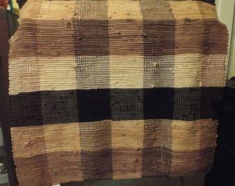 Large Boho Rustic Floor Rag Rug Earth Tone Colors