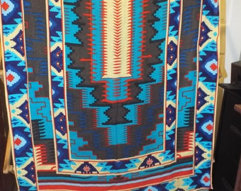 Colorful Lightweight Southwestern Aztec Throw Blanket Wallhanging