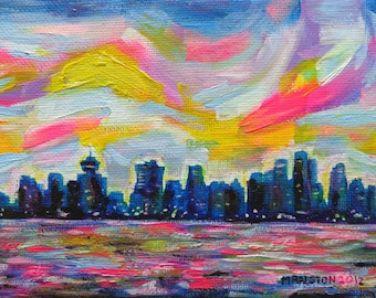 Art Print, An Evening In Vancouver, Canadian City Skyline Art