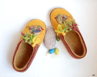 Easter gift felted slippers daughter gift yellow mustard wool slippers birds art slippers spring gift - 3,5 US 35 EU