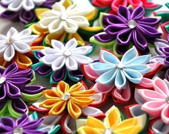 Kanzashi Tutorial, Ribbon flower, PDF, Tsumami Kanzashi, Kanzashi with Double Pointed Petals, How to Make Flowers, Immediate Download,Flower