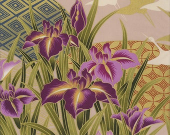Fans, Flowers & Cranes - Orimono IV Collection - Kona Bay Fabrics EH-20127-NATURAL (sold by the 1/2 yard)