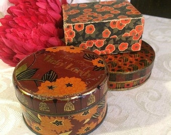 Stunning Trio of Small Vintage Boxes, Tin and Cardboard, Small Orange Boxes, Flowers Floral, Art Deco, Boho Vintage Vanity