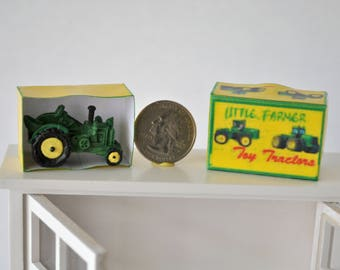 Dollhouse Miniature Toy Tractor, Dollhouse Child's Toy John Deere Green and Yellow Tractor in Box