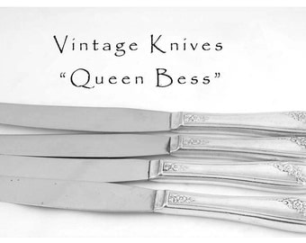4 Vintage Silver Plated Knives, Queen Bess Silver Plate Hollow Handle Dinner Knife, Silver Plated Floral Silverware