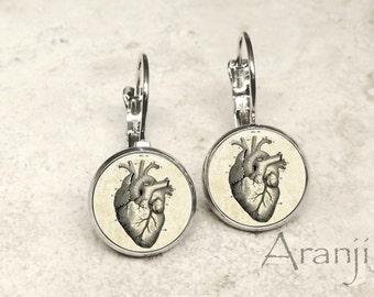 Victorian heart earrings, heart earrings, anatomical heart earrings, heart anatomy earrings, heart anatomy, heart jewelry, heart, AN214LB