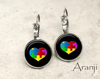 Glass dome autism awareness earrings, autism awareness earrings, autism earrings, autism heart earrings, autism jewelry, PA153LB