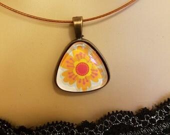 Necklace Orange Flower Pendant