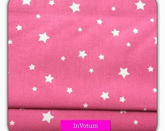 Cotton fabric with white stars on a pink background, 50 cm