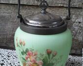 Antique Satin Glass Biscuit Jar, Beautiful Hand Painted Glass, Cracker Barrel