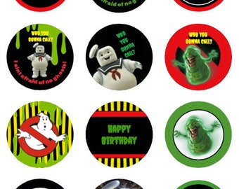 Ghostbusters cupcake toppers or stickers favor tags digital download 2 inch circles collage pdf instant printable labels 22807