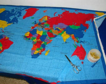 World map fabric panel map fabric panel sewing material europe fabric cloth of a world map make a wall hanging table cloth bag quilt countries cities oceans colorful great for gifts gumiabroncs Gallery