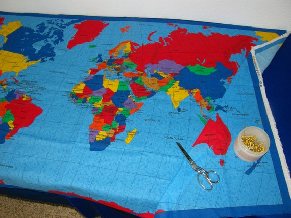 Fabric cloth of a world map make a wall hanging table cloth fabric cloth of a world map make a wall hanging table cloth bag quilt countries cities oceans colorful great for gifts from mangotreecreations gumiabroncs Image collections