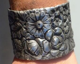 ON SALE 50% OFF Antique Sterling Silver 925 Floral Repoussé Cuff Bracelet Bouquet Bridal .925 Victorian Wedding Embossed Art Nouveau Wide Sp