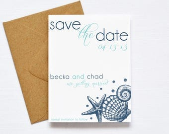Beach Wedding Save the Date, Printable Wedding Invitation, Seashell Wedding, Printable Save the Date, Teal and Gold, Destination Wedding