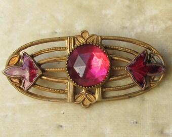 Antique Edwardian Art Nouveau Pink Rhinestone & Enamel Pin, Original Jeweler's Leather Box