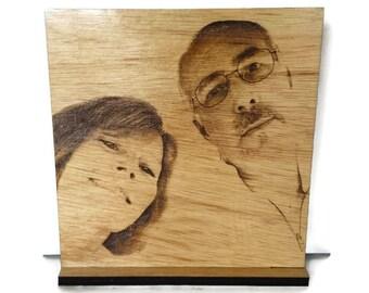 "personalized photo, laser engraved photo, wooden wedding photo 11"" x 11"" on stand, laser engraved photo on wood, custom photo on wood"