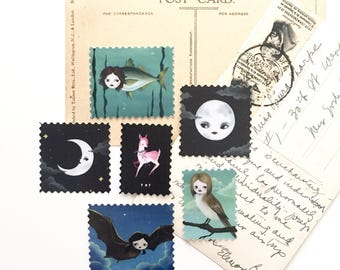 Sticker pack #2, artistamps, faux postage, weird stickers, pop surrealism, stationery, scrapbooking