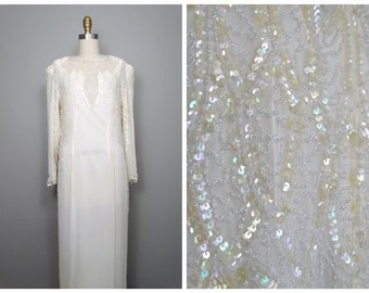 VTG Ivory Beaded Silk Dress / Mother of the Bride / Iridescent Off White Sequin Dress