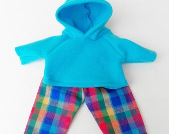 american made bitty baby doll clothes 15 inch twin boy, turquoise blue,plaid pants, hoodie hooded fleece sweatshirt, 2p, adorabledolldesigns