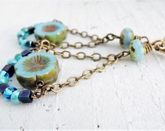 Blue Czech Glass and Brass Dangles Antiqued Brass Earrings Flower Chandelier Earrings Robins Egg Blue Dangles Bohemian Flower Earrings