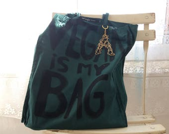 Custom Vegan is my Bag Green TOTE Shoulder Shopper Eco Bag / Eve Damon