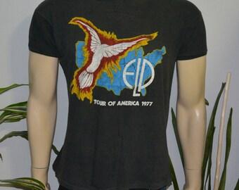 1977 EMERSON LAKE And Palmer vintage concert tour rare original prog rock t-shirt ELP Medium/Large (M/L) 70s 1970s tshirt tee