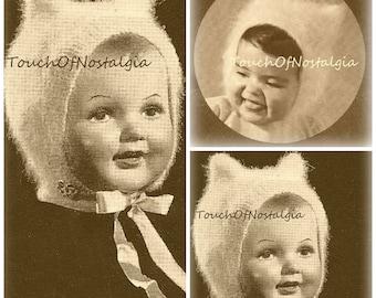 2 Angora KITTEN Ear BONNETS Vintage Knitting Patterns - Charming KITTEN-Ear Bonnets / Kitten Soft - So Cuddly Both Patterns Incl