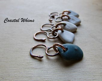 Sea Pottery Stitch Markers, Crochet Markers, Crochet Tools, Gift for Crocheters, Snag Free Markers, Copper Stitch Marker, Pottery Marker Set