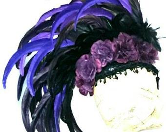PLUMA - Luxe Embellished Feather Mohawk Headpiece -  burlesque gothic festival costume boho burningman steampunk victorian