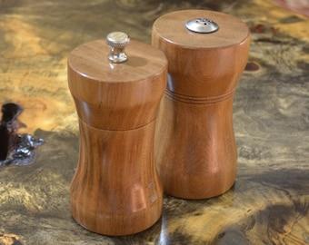 Hand Turned Ancient Kauri Wood Peppermill and Salt Shaker Set
