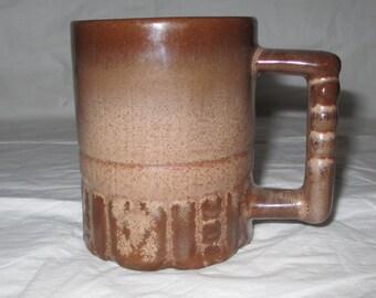 Vintage Frankoma Pottery C4 Coffee Mug Cup Mayan Aztec Brown-Satin Rutile (ca. 1980s)