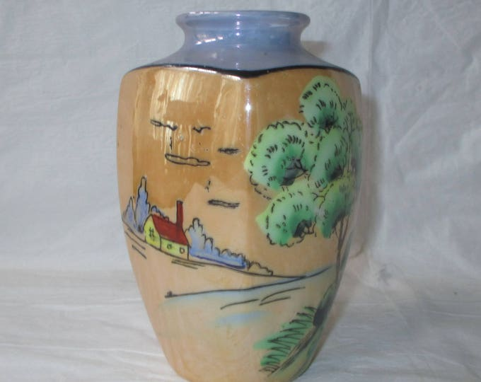 """Colorful Porcelain Luster Ware 5"""" Hand-Painted Vase House in Field, Tree, Marked Japan (c. 1930s)"""