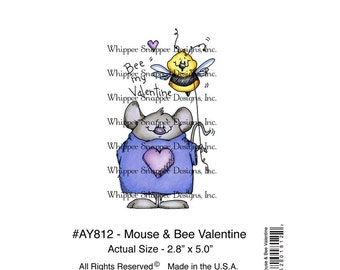 Whipper Snapper Designs Cling Mounted Rubber Stamp Mouse & Bee Valentine