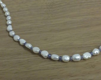 Freshwater pearl and tanzanite necklace with magnetic fastening
