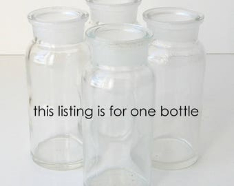 Wheaton glass bottle, clear glass container, chemical bottle, TCW Co bottle, rustic wedding decor, wide mouth bottle, chemical container