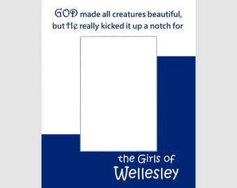 Wellesley College Girls Picture Frame Photo Mat  Unique School Graduation Gift Personalized