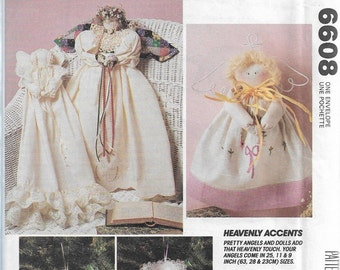 McCall's Crafts 6608 Heavenly Accents Pretty Angel Dolls Sewing Pattern 1993 Uncut