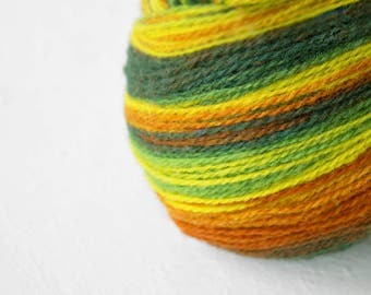 Gradient Aade Long artistic wool, Yarn for knitting, crochet. Green-Yellow-Brown gradient yarn