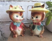 Mr and Mrs Chipmunk Vintage Cake Topper Salt and Pepper Shakers