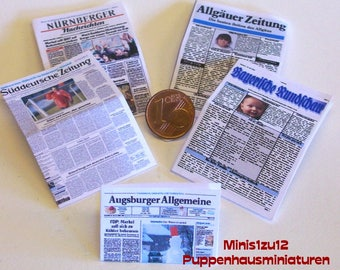 2010# Newspapers from South Germany - 5 Pc - Doll house miniature