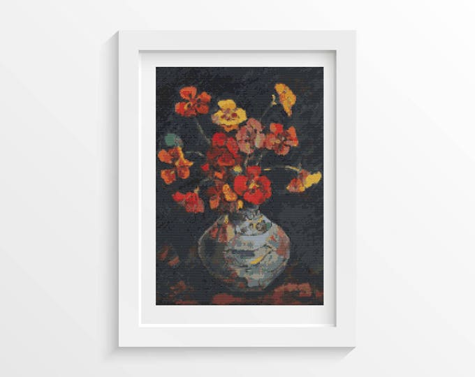 Vase with Petunias Cross Stitch Pattern PDF by Nicolae Darascu (DARAS02)