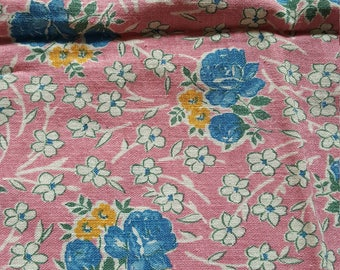 Vintage FULL Unopened Feed Sack Feedsack Fabric Material Pink Blue Roses BEAUTIFUL