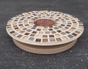 "Tan Brown Glass Tile Slate Stone Mosaic Lazy Susan Turntable w/Metal Insert 11"""