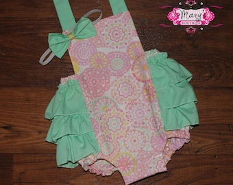 Easter Pink and Mint Medallion Personalized Ruffle Bottom Romper and Matching Bow