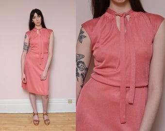 70s Pink Dress Medium Bow Tie Dress Tie Front Spring Dress Pastel Pink High Waist Minimal Mod Hippie Midi Dress Work Dress