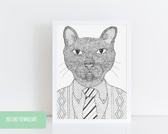 Fancy Feline Illustration Digital Print a4 & a5 PDFs Included INSTANT DOWNLOAD