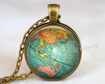 Antique map jewelry etsy vintage globe necklace pendant jewelry keychain planet earth world map antique travel wanderlust gypsy bohemian geography gumiabroncs Image collections